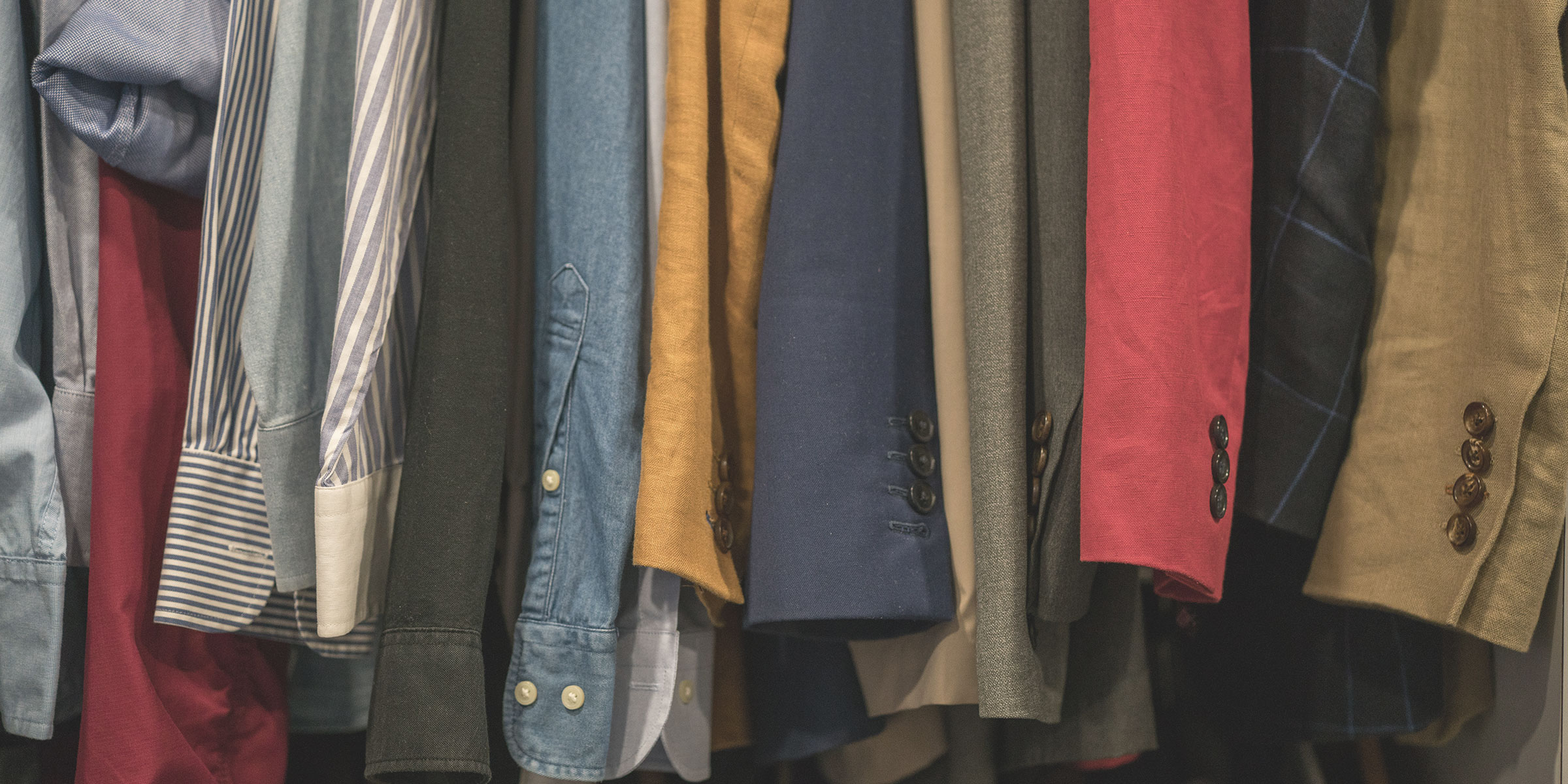 selection of mens blazers and shirts